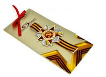 дизайнерские открытки к 9 мая: дизайнерский картон, uf-печать, декорирование лентой