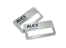 металлические бейджи для Alex-fitness. Нанесение - лазерная гравировка.