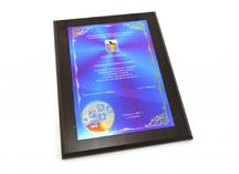 плакетка деревянная с полноцветным нанесением на пластиковую шильду