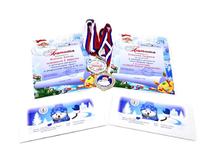 Грамоты для конкурса рисунков. Конверты с индивидуальным дизайном. медали с полиграфическими наклейками