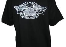 футболка черная с одноцветным рисунком