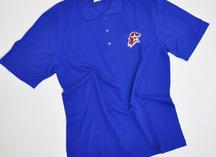 синее поло с логотипом Юнармии, нанесение - термоперенос