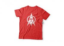 футболка красная с рисунком в 1 цвет