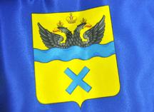 сублимационное нанесение герба Оренбурга на изделие из атласа