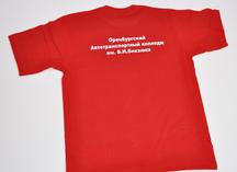 красная хлопчатобумажная футболка, нанесение - термоперенос