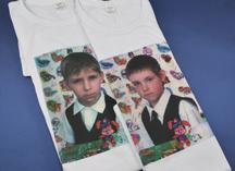 белые хлопчатобумажные футболки, полноцветное нанесение методом термопереноса