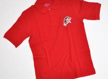 красное поло с логотипом Юнармии, нанесение - термоперенос